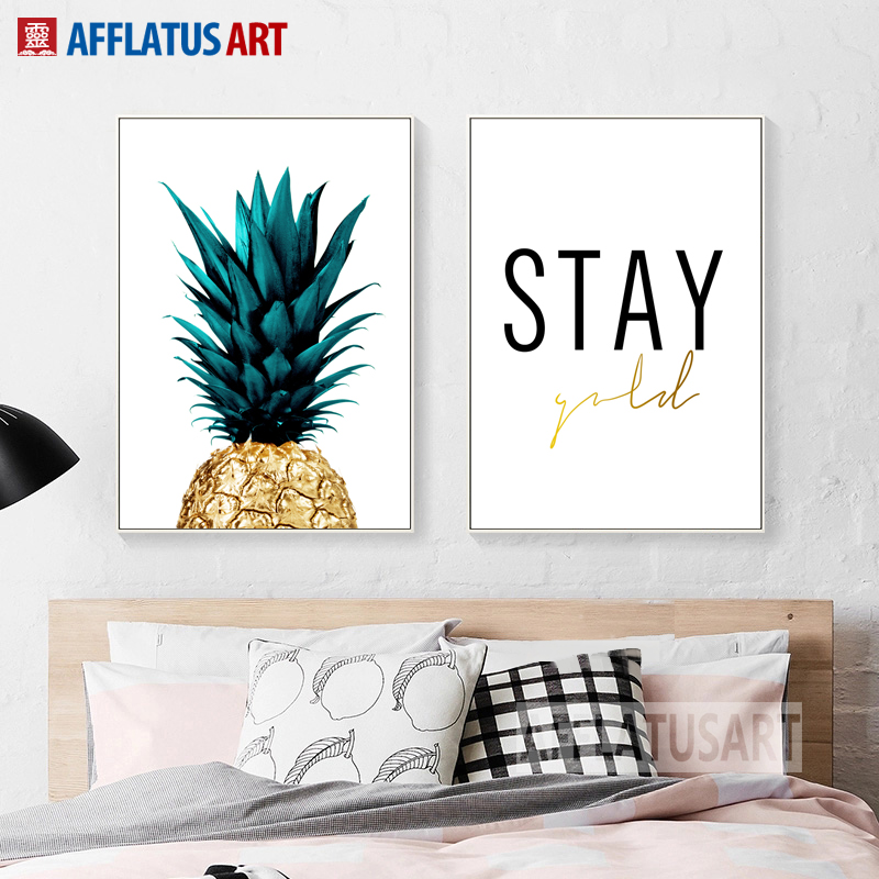 Afflatus canvas painting pineapple letter realistic style for Prints for home decor