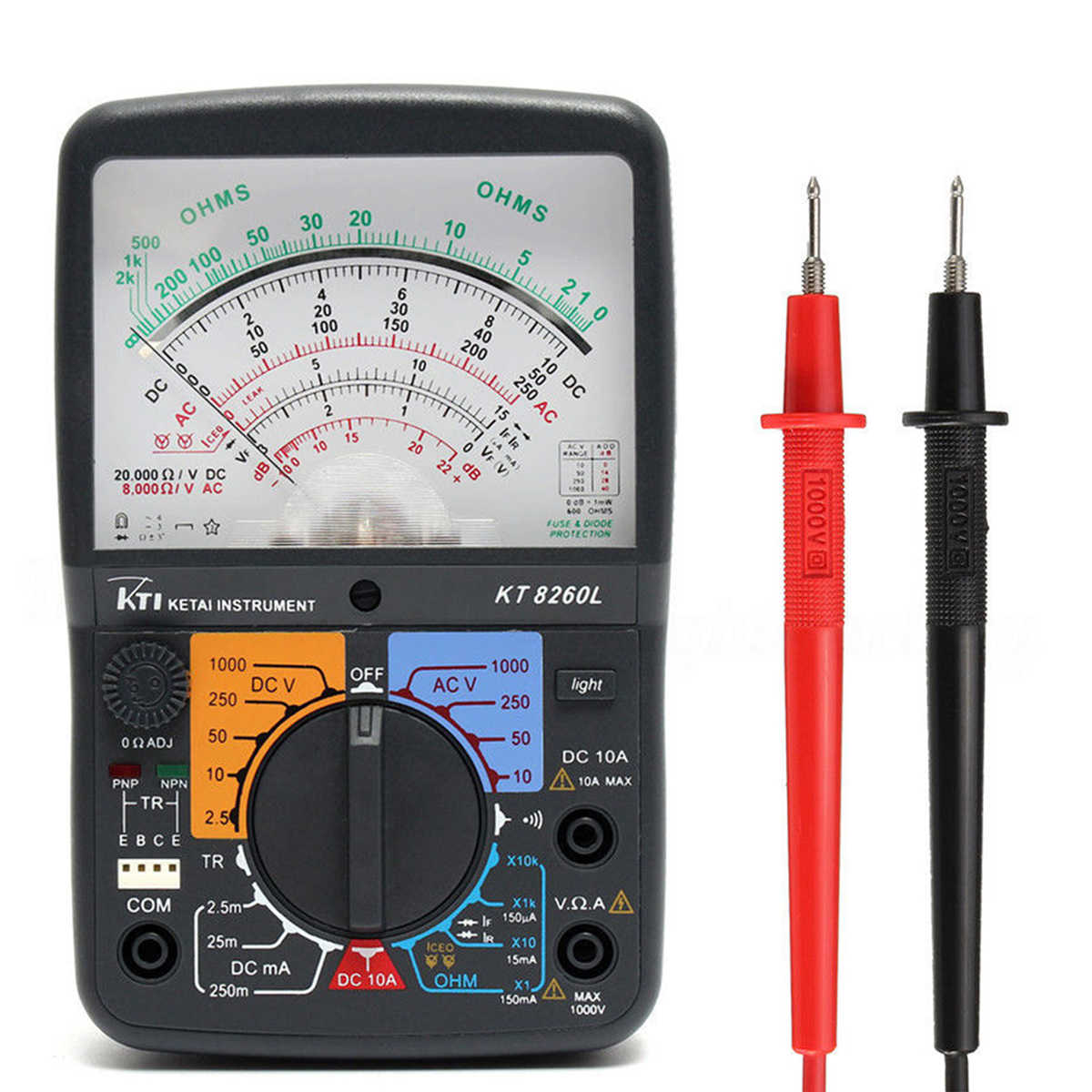 KT8260LDigital Analog Multimeter ACV/DCV/DCA/Electric Resistance Tester  + 2pcs Test Pen For Measurment Tools