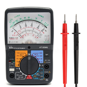 цена на KT8260LDigital Analog Multimeter ACV/DCV/DCA/Electric Resistance Tester  + 2pcs Test Pen For Measurment Tools