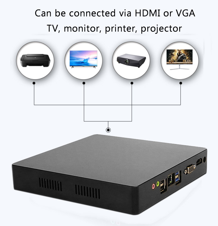 Mini PC de juegos de ordenador intel Core i7 i5 i3 J1900 Oficina 4K 300M WiFi HDMI VGA USB Windows 10 Gigabit Ethernet Linux HTPC