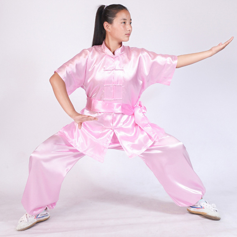 Black Red Blue White Chinese Short Sleeved TaiChi KungFu Martial Arts Suit Costume For Children Adult