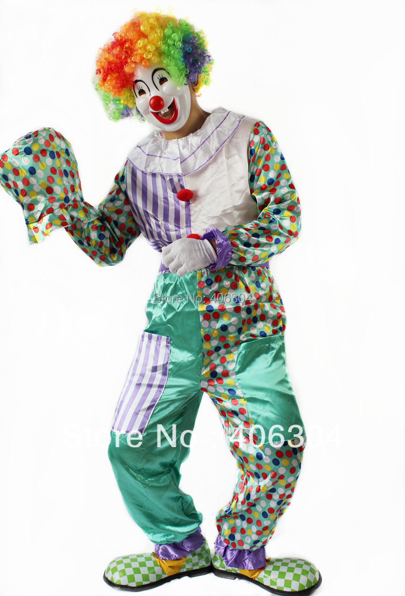 Free shipping,adult halloween clown costumes blue and white style ,clown clothing, hat ,gloves,wig,mask and shoes