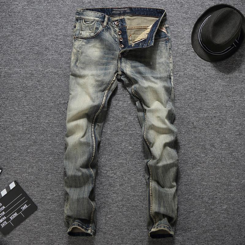 Italian Vintage Designer Men Jeans Good Quality Casual Pants Slim Fit Buttons Classical Jeans Balplein Brand Jeans Men