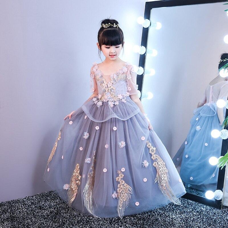 Summer New Children Girls Elegant O-neck Princess Flowers Birthday Wedding Party Long Prom Dress Kids Babies Host Costume Dress