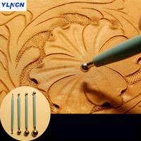4 шт. набор кожаный шар формирующий давление бар кожа резьба Прессер кожа цветок Изготовление DIY инструмент палка