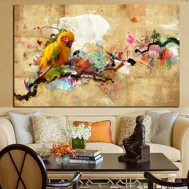 Modern Abstract Parrot Bird Oil Painting on Canvas Animal Wall Art Picture for Office Decor Hand Made High Quality No Framed