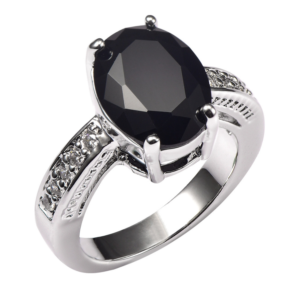 Shiny Black Onyx With Multi White Crystal Zircon 925 Sterling Silver Ring  Factory Price For Women