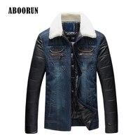ABOORUN 2017 Plus Size 5XL Mens Thick Denim Jacket With Leather Patchwork Winter Men Warm Slim