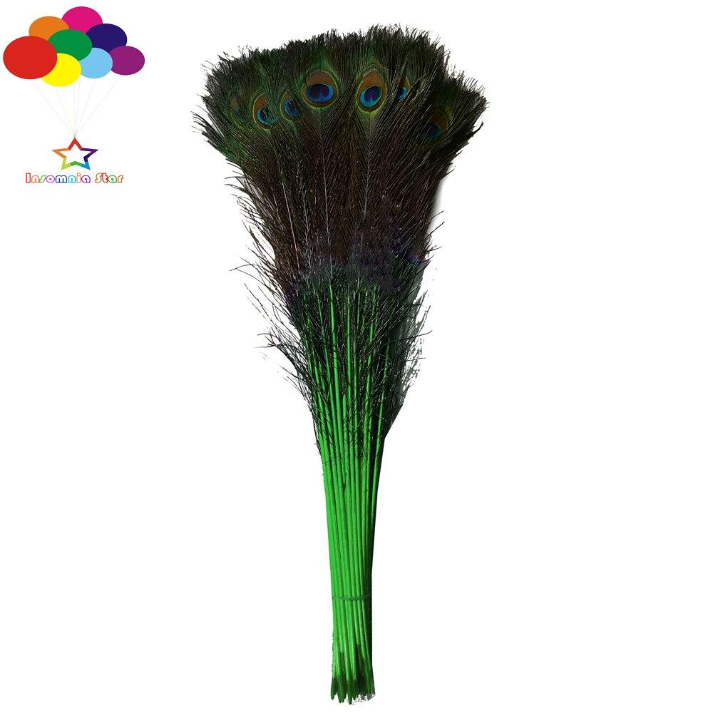 Teint foncé vert 100 pcs 70-80 cm/28-32 pouce Naturel Paon Plumes de Haute Qualité pour diy carnaval costume masque coiffe maison