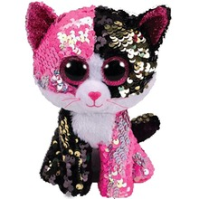 Ty MALIBU-розовый/черный блестящий Кот Рег плюшевые игрушки животных 15 см