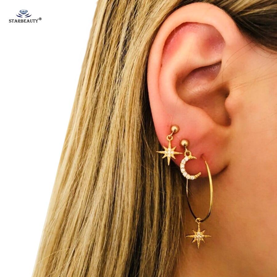 Starbeauty 4 Pcs Lot Gold Color Sun Moon Ear Piercing Jewelry
