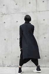 [EAM] 2019  New Fashion Winter Stand Lead Irregular Long Type Cotton-padded Clothes Loose Coat Solid Black Jacket Woman YA771 4
