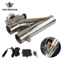 PQY Universal Stainless Steel 304 2.5 3 Electric Exhaust Downpipe Cutout E Cut Out Dual Valve Remote Wireless PQY EMP86