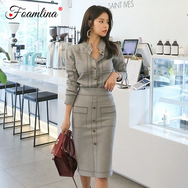 d98cd7a9fa7 Foamlina Sexy Women Two Pieces Sets 2018 Autumn Knitted Suits Geometric  Pattern Long Sleeve Cardigan + Pencil Skirt Sets Women