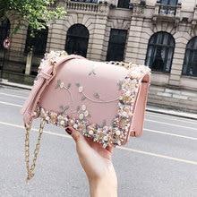 2019 New handbag Lace Flowers Women bag High quality PU Leather Sweet Girl Square bag Flower Pearl Chain Shoulder Messenger Bag