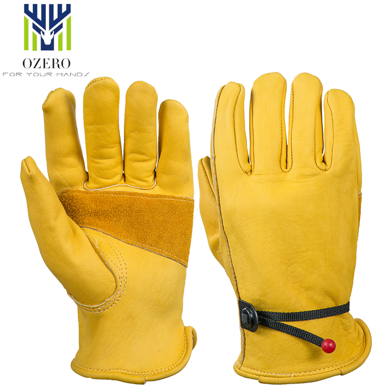 OZERO The Driver Cowhide Motorcycle <font><b>Gloves</b></font> Waterproof Anti Cold Anti Snowboard Hiking Hunting MOTO Leather <font><b>Gloves</b></font> for Men 0003