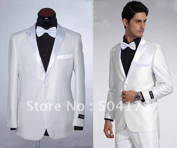 White Men S Business Suits Wedding Tuxedo Groom Wear Casual Western Style Fashion Dress Suit