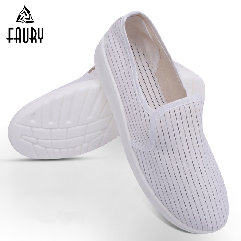 Men Women Anti-static Dust-free Shoes Thick Soft Bottom White Blue Workshop Clean Shoes Factory Dust-proof Work Shoes