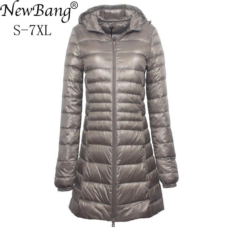 NewBang Brand 6XL 7XL 8XL Plus Size Women Long Down Jacket Ultra Light Down Jacket Women Autumn Winter Hooded Feather Jacket