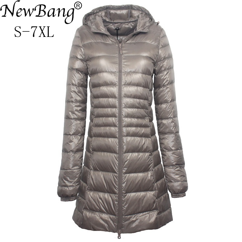 NewBang Brand 6XL 7XL Plus Long Down Jacket Women Winter Ultra Light Down Jacket Women With a Hood Down Coat Female Big Size