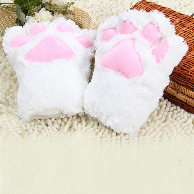 2018 Women Lady Cartoon Plush Cat Paws Gloves Maid Anime Dress Up Props Cosplay Accessories Party Supplies