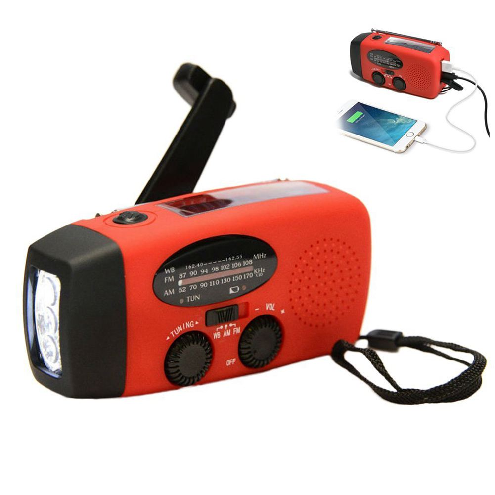 Multifunctional Hand radio Solar Crank Dynamo Powered AM/FM/NOAA Weather Radio Use Emergency LED Flashlight and Power Bank outad protable emergency hand crank charger 3led flashlight generator solar am fm wb radio waterproof emergency survival tools