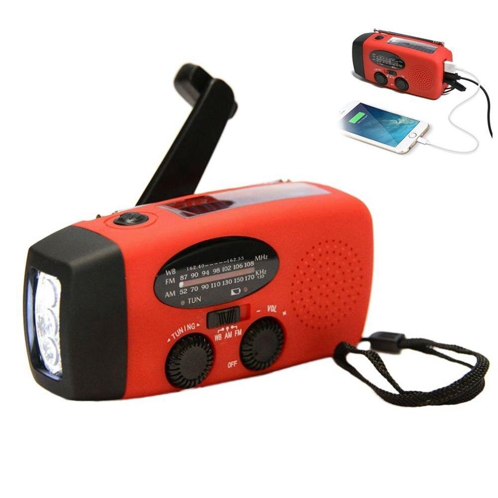 Multifuncional Mão Manivela Dínamo Movido A Energia Solar rádio AM/FM/NOAA Weather Radio Uso de Emergência Lanterna LED e Poder banco