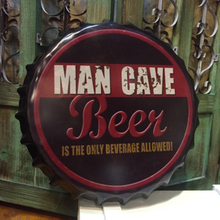 "Tin Sign""MAN CAVE BEER""Vintage Iron Painting Beer Cover Bar KTV Hanging Ornaments Decor Retro Mural Poster Metal Wall Stickers"