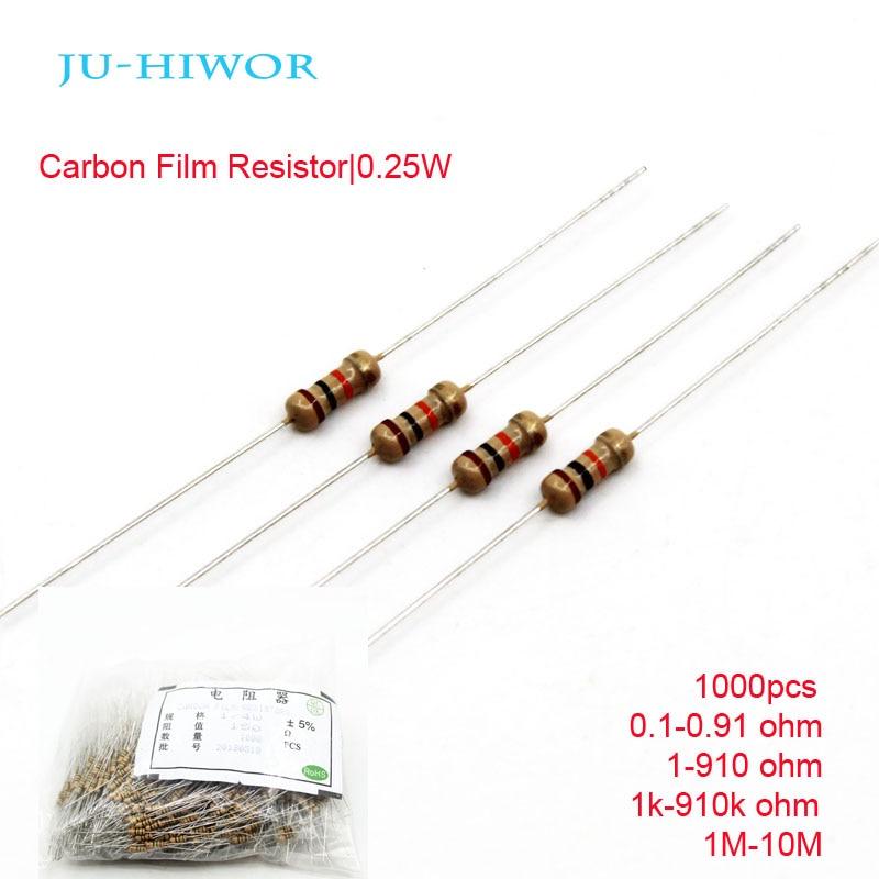 1000pcs Carbon Film Resistors 1/4 W Watt 0.25W 5% 0.1-0.91 1-910 1k-910k 1M-10M Ohm 100K 200K 300K 1M 10M 0 Ohm Diy Resistor