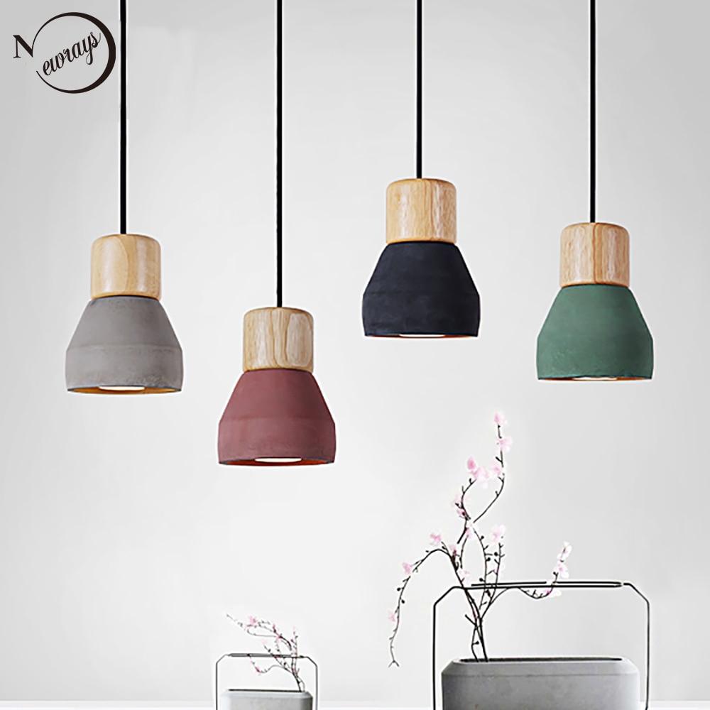 4 Color Brief Loft Nordic Style Wood Cement Pendant Lights