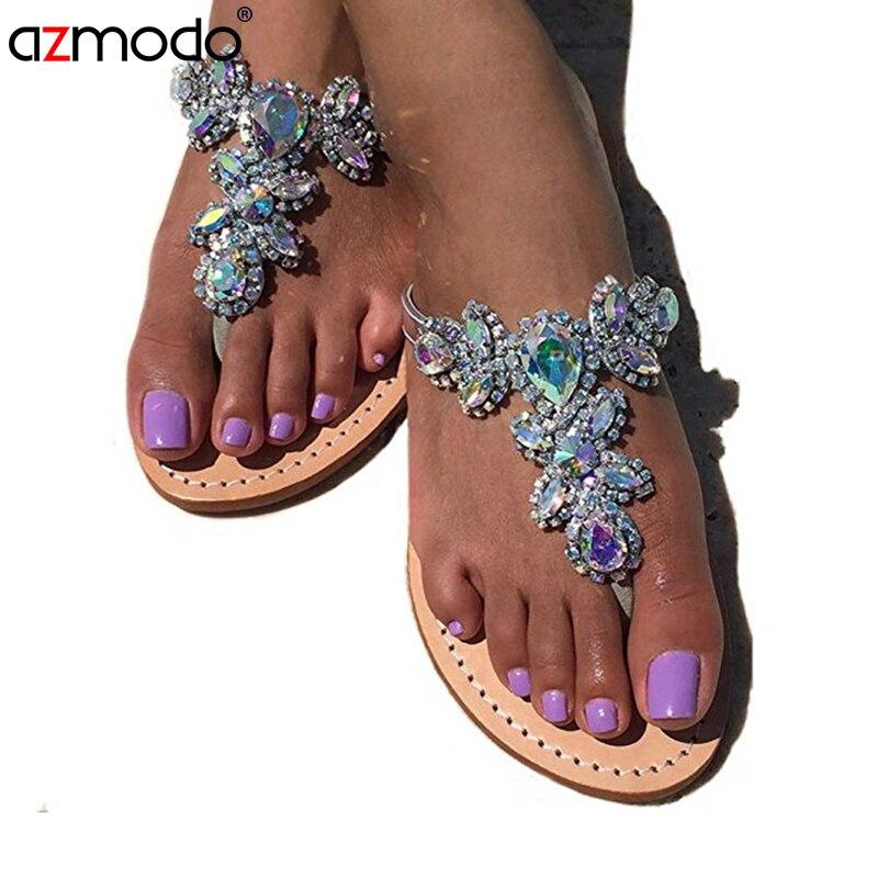 701d9dc7e9c2ce 2018 New Bohemian Women Sandals Crystal Flat Heel Sandalias Rhinestone  Chain Women Shoes Thong Flip Flops