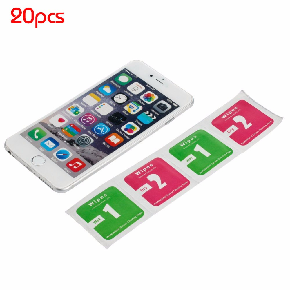 FreeShip 20pcs Camera Lens Phone LCD Screen Dust Removal Tool Dry Wet Cleaning Wipes Paper Set For IPhone Sumsung Computer