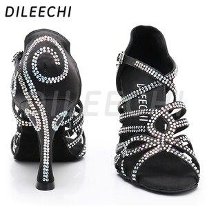 Image 3 - DILEECHI Latin Dance รองเท้าคู่ Rhinestone Shining ผิวซาตินสีดำผู้หญิงบอลรูมเต้นรำรองเท้าคิวบา heel 9 ซม.ใหม่