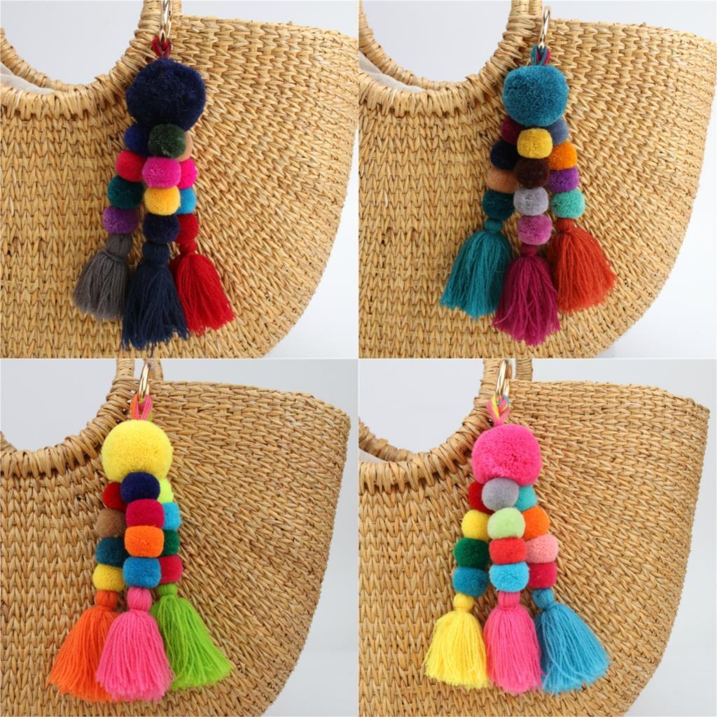 1pc Vintage Bohemian Accessories Handmade Keychain Beads Chain Pompom Hand Bag Hanging Key Chains For New Year Gift
