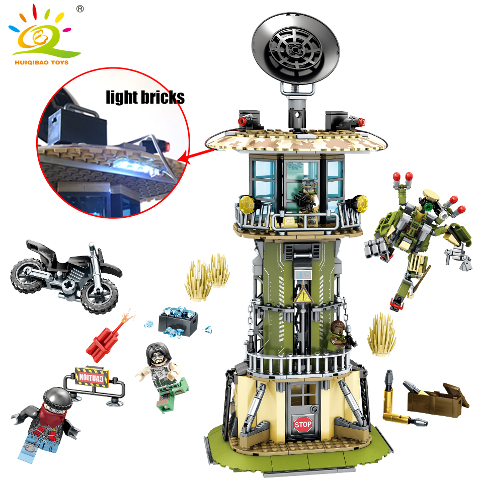 651pcs military Watchtower building blocks Compatible Legoed technic army soldier weapon enlighten brick toy for Children friend цена