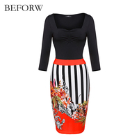 BEFORW Autumn And Winter Women Dress Europe Long Sleeves Office Dresses 4 Colors Splice Work Wear