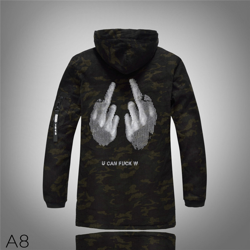 Mens Winter Jacket Hip Hop Middle Finger Print Casual Fit Slim Hoody Thick Coats Male 2018 Autumn Winter Clothes Men J0423