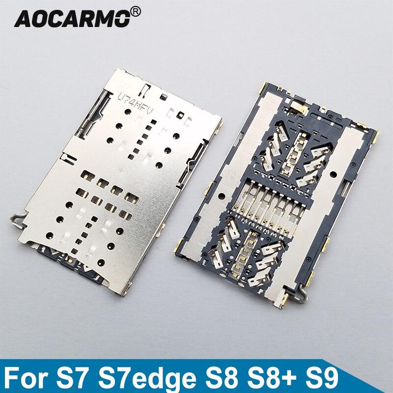 Aocarmo SIM Reader Card Holder On Board Connector For Samsung Galaxy S7 S7edge S8 S8+ S9 G9350 G9300 G9500 G9550 G9600 Plus Edge