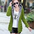 2016 Primavera Outono Jaquetas Mulheres Brasão Hoodies Casual Sportswear Casaco Com Capuz de Algodão Casacos Quentes Plus Size M-3XL