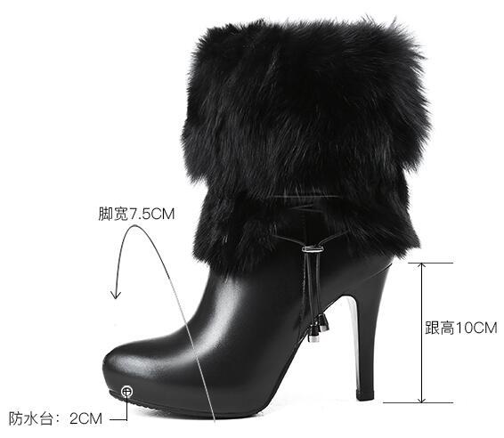 Lujo Tacón Mujer Marca Tobillo Beige negro Plataforma Alto Botas Nieve Invierno Cálido Zapatos Para De Mujeres Cuero {zorssar} La 2019 Tacones Las Natural SqtIxTZw
