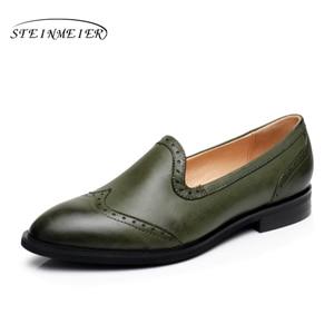 Image 2 - Yinzo Vrouwen Flats Oxford Schoenen Dame Echt Lederen Sneakers Dames Brogues Vintage Casual Schoenen Schoenen Voor Vrouwen Schoenen 2020