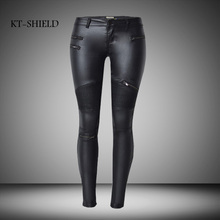 Women's Denim Skinny Stretch Low Waist Pants Motorcycle Biker Punk Faux PU Leather Pencil Pants Multi Zipper Locomotive Jeans 46