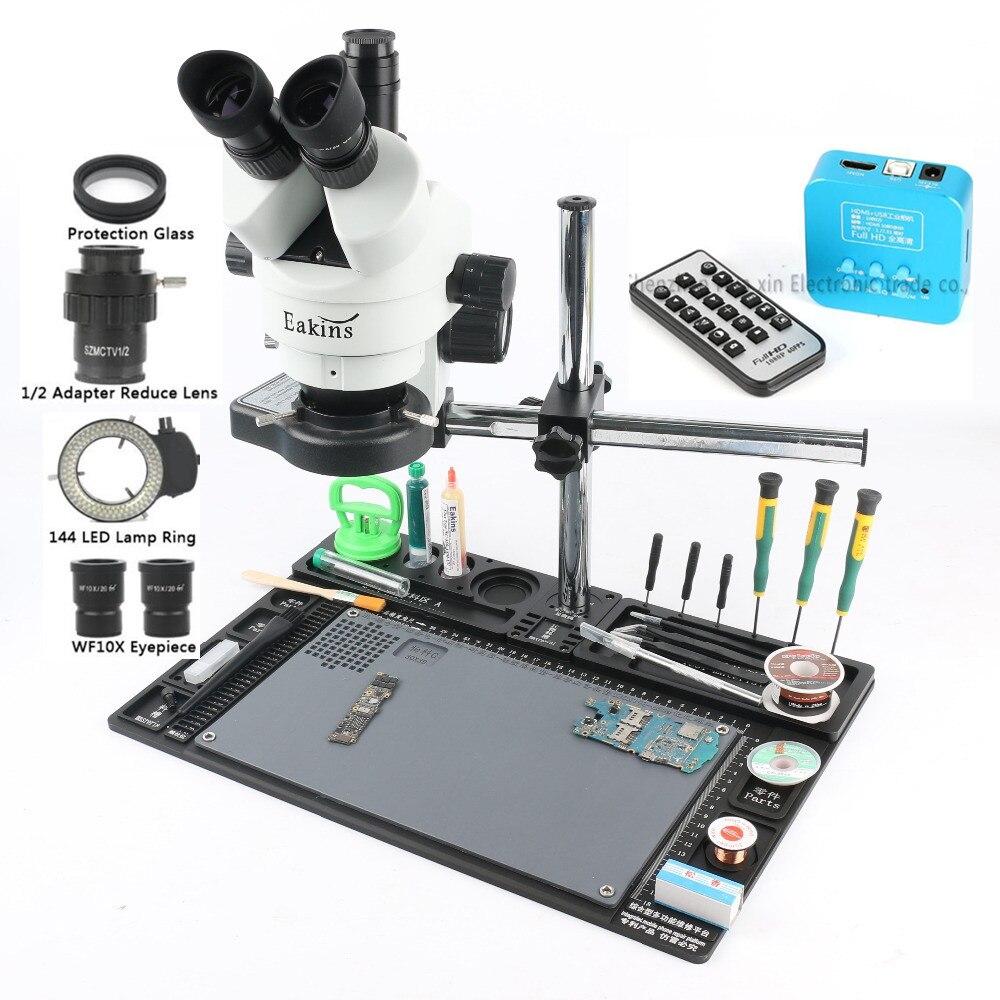 3 5 90X Simul focal Trinocular Stereo Microscope 36MP HDMI Microscope Camera rotating bracket Phone Repair
