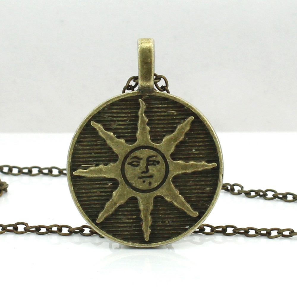 HZSHINLING Pendant Zinc Alloy Male Dark Souls Sun Necklace