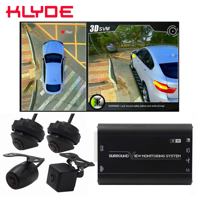 HD 3D 360 Surround View Driving Support Bird View Panorama DVR System 4 Car Camera 1080P Car DVR Video Recorder Box G-Sensor