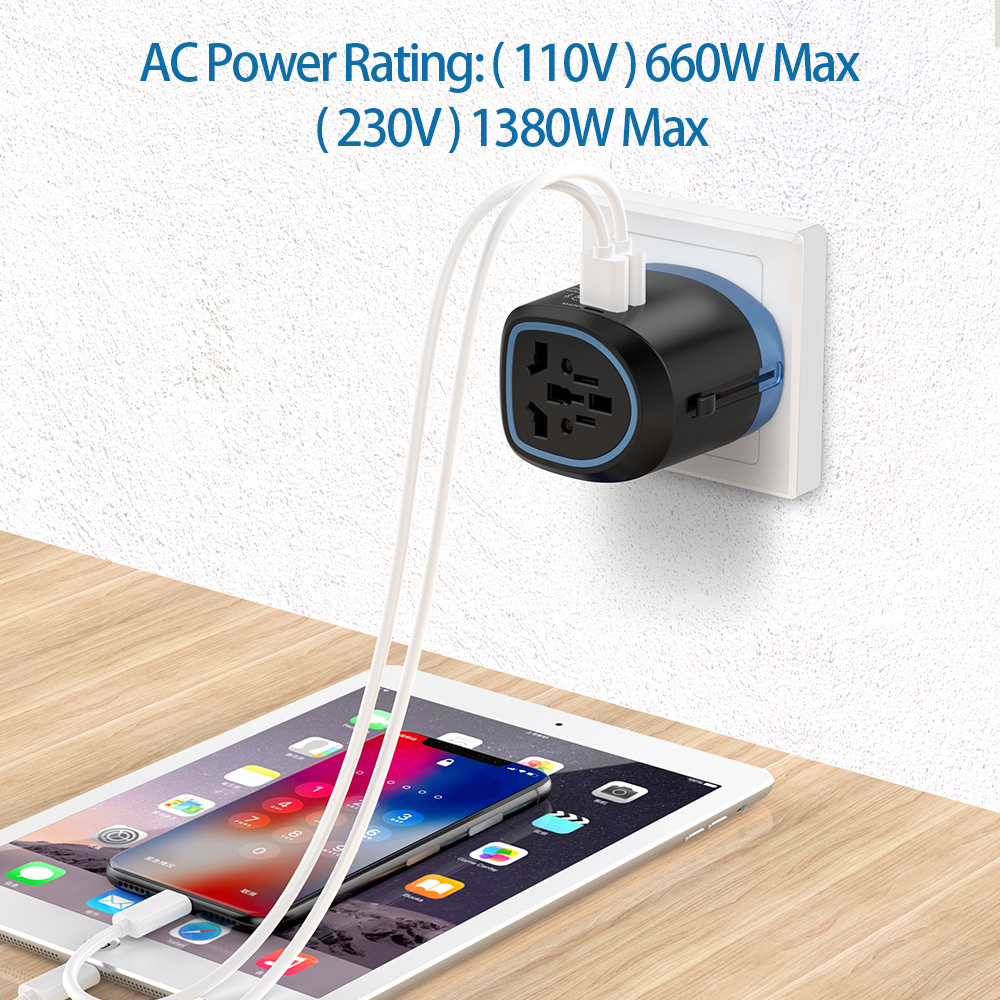 NTONPOWER Universal Travel Adapter All in One International Power Adapter Socket Charger with 2 USB Ports Works in 150+Countries