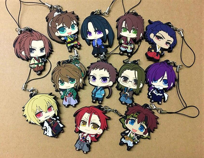 12pcs/lot Random Send Hakuouki BoYing ghost Anime keychain Yukimura Jiziru Hijikata Toshizo Okita Rubber mobile phone strap-in Key Chains from Jewelry & Accessories