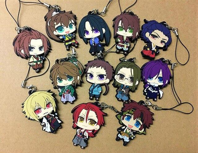 12pcs/lot Random Send Hakuouki BoYing ghost Anime keychain Yukimura Jiziru Hijikata Toshizo Okita Rubber mobile phone strap
