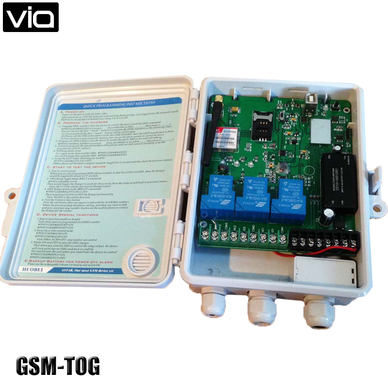 GSM-TOG Free Shipping GSM Remote Controller and three alarm input port  ( Three big power Relay Control ) Wide power voltage gsm tog gsm alarm and remote relay switch control box three big power relay output power input dc18 72v