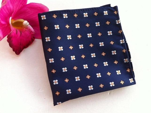 Wedding Pocket Square Navy Blue With Unique Floral Men Handkerchief To Match Necktie